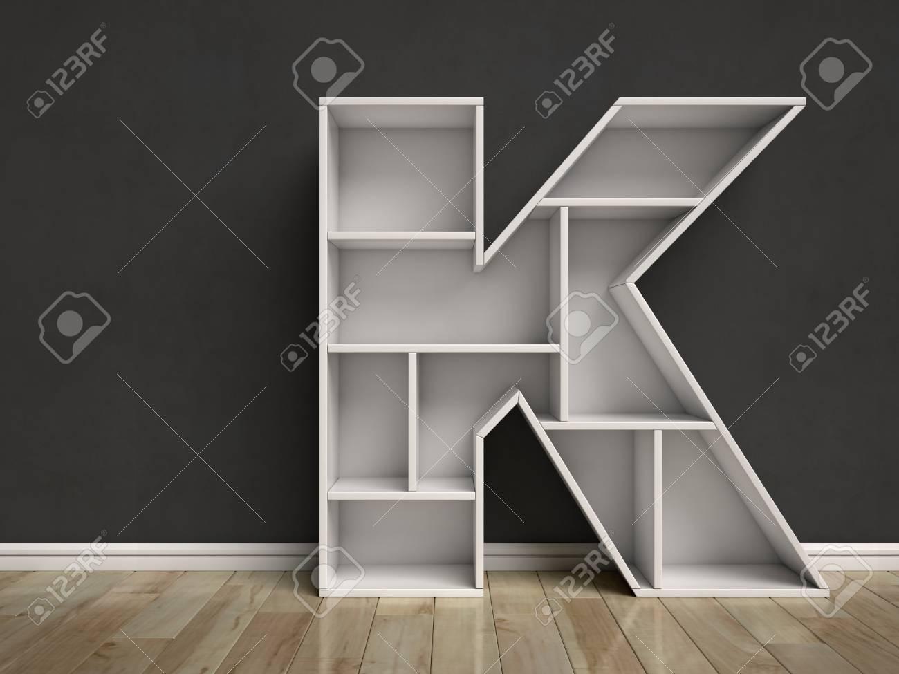 Letter K Shaped Shelves Stock Photo   85541961