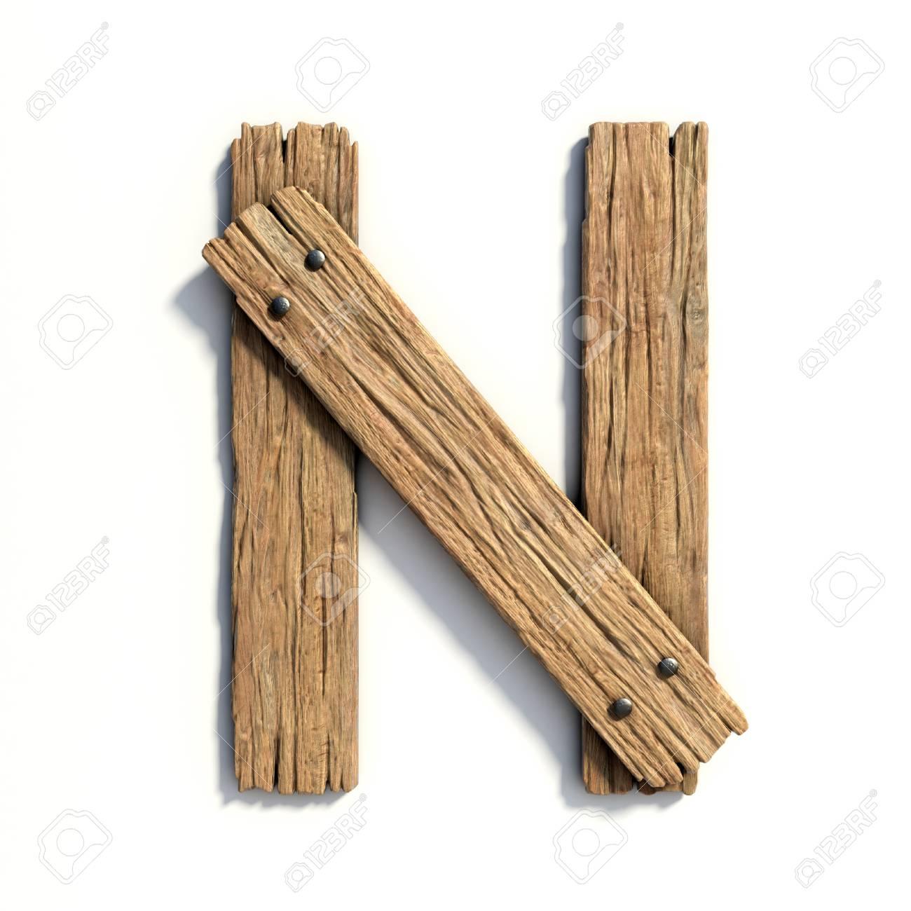 Wood font, plank font letter N - 89059738