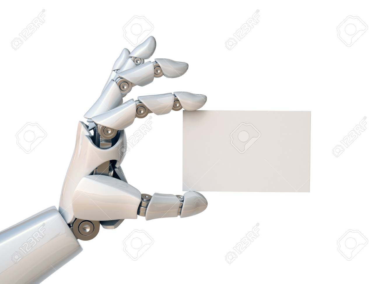 Robot hand holding a blank business card 3d rendering - 88979885