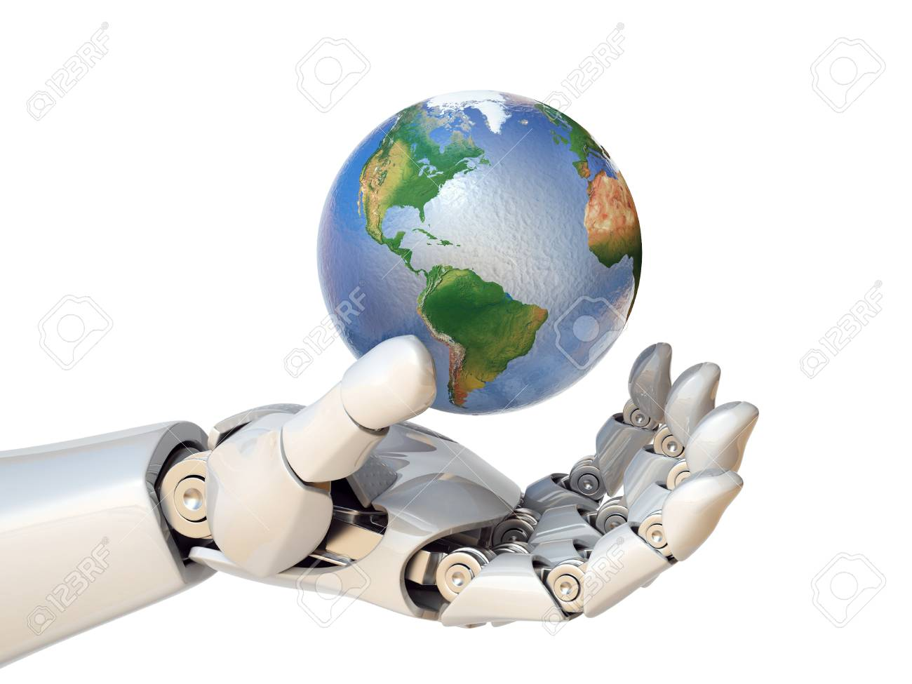 Robot hand holding planet Earth 3d rendering isolated illustration - 88979922