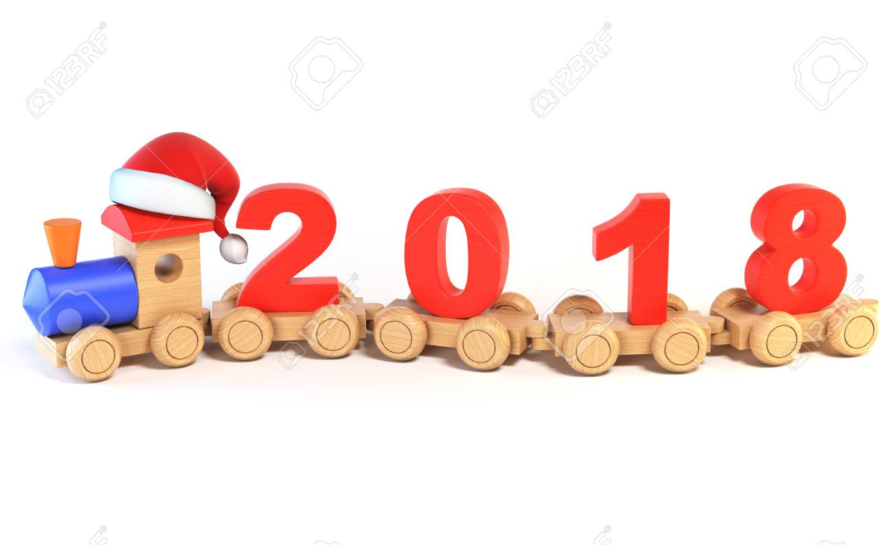 christmas or new year's wooden toy train, numbers 2018 as railroad..