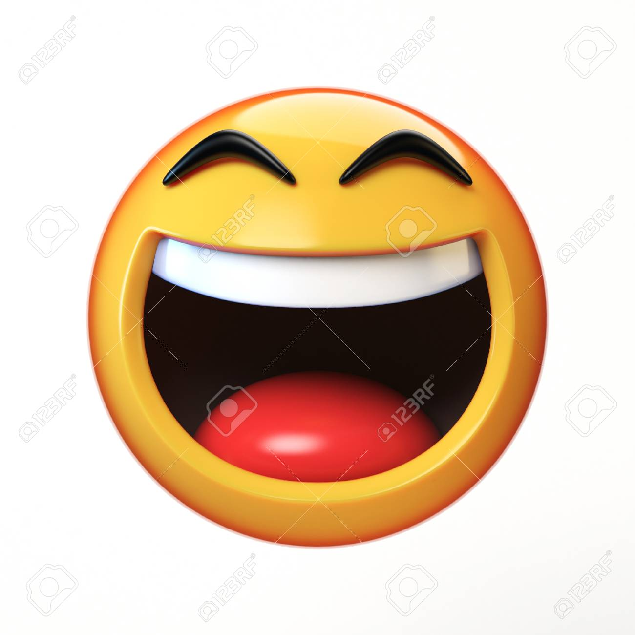 LoL Emoji isolated on white background, laughing face emoticon