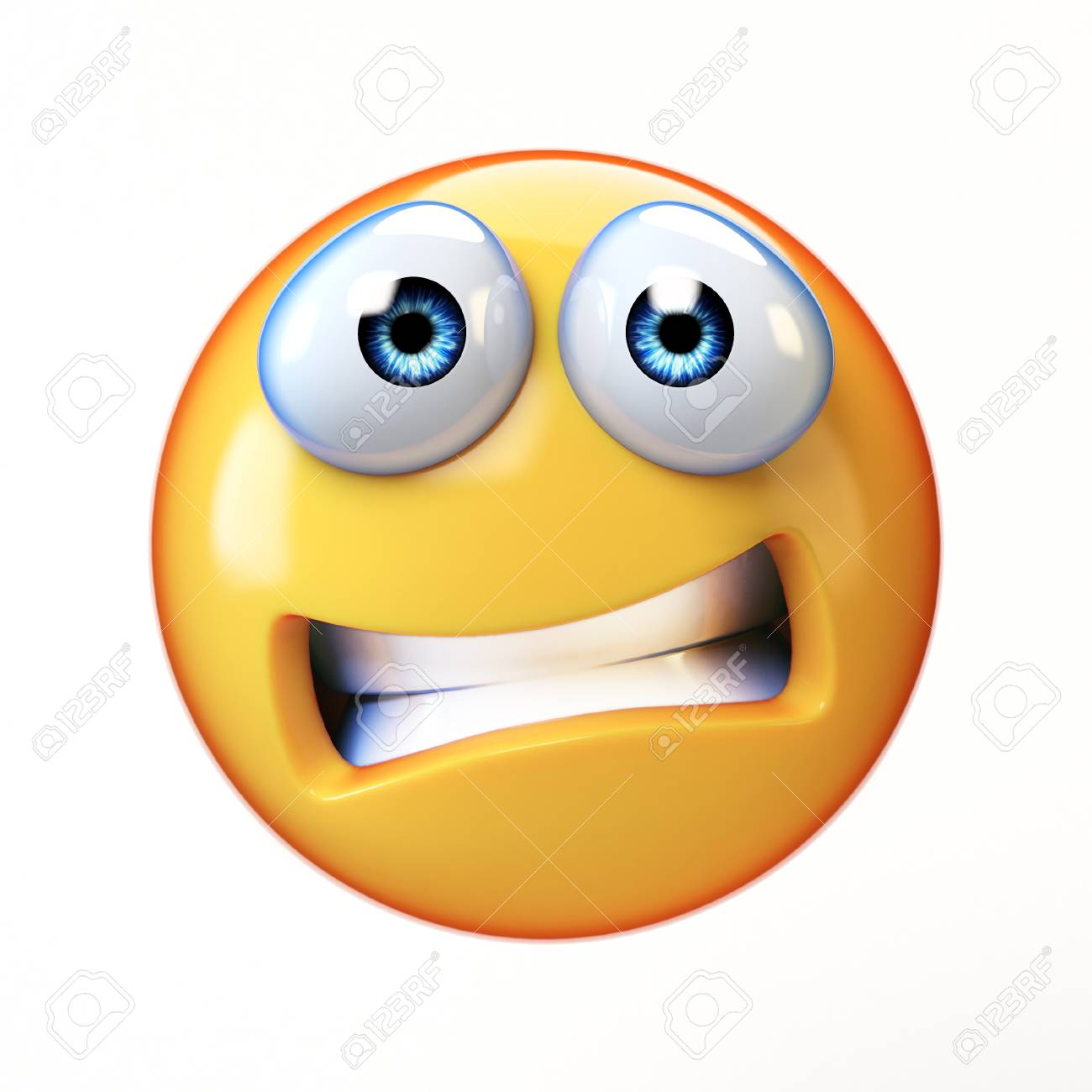 scared emoji isolated on white background emoticon in fear 3d