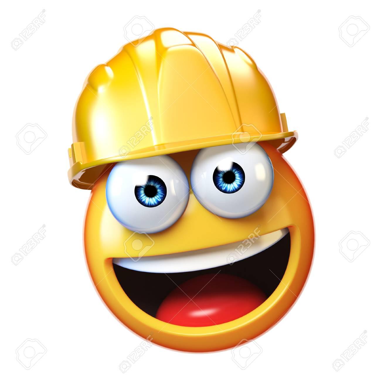 Emoji Construction Worker Isolated On White Background, Emoticon ...