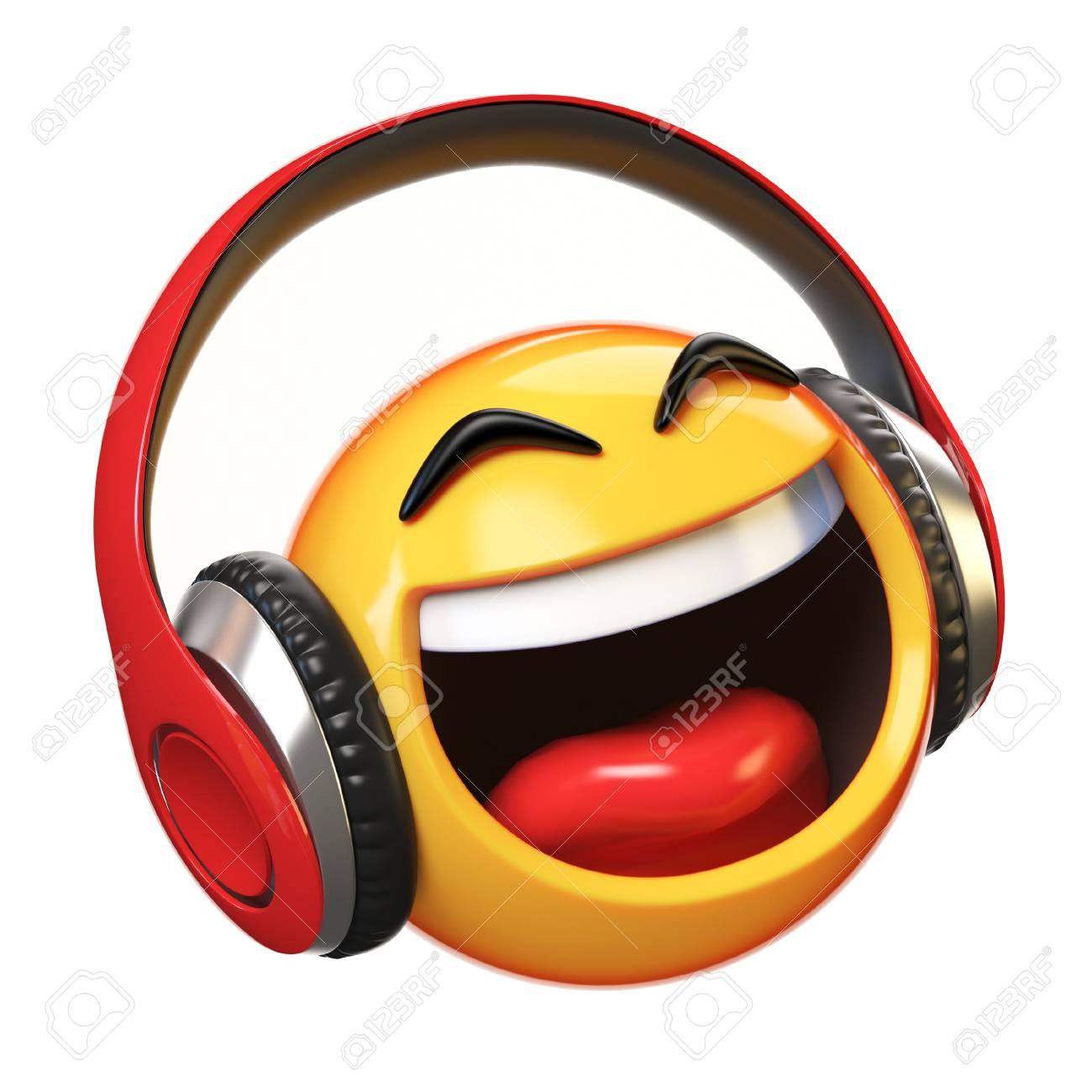 Music emoji with headphones isolated on white background, emoticon