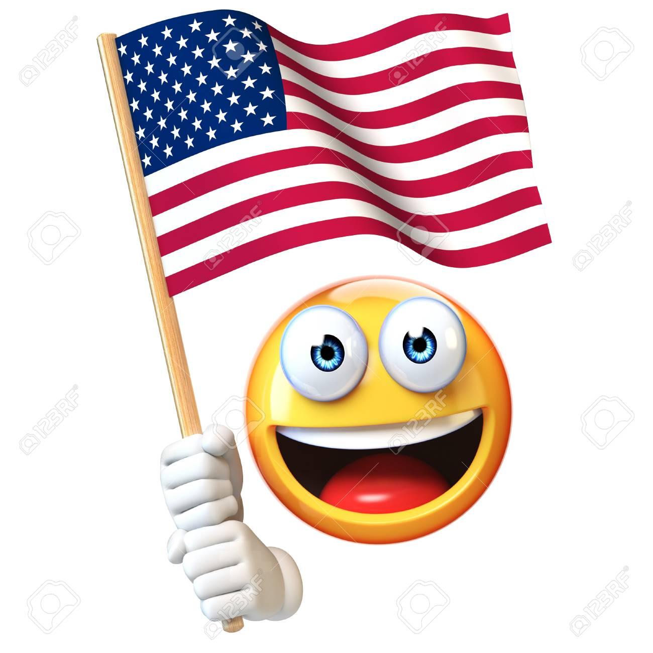 Emoji holding US flag, emoticon waving national flag of United