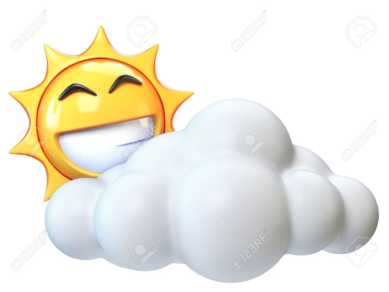Weather icon Sunny with clouds, sun emoji with cartoon cloud