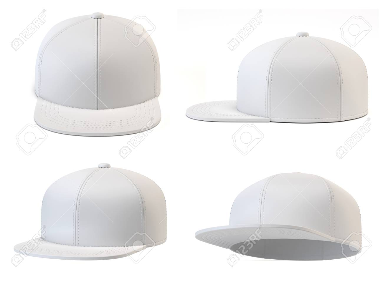 Set Of White Baseball Cap Mock Up, Blank Hat Template Isolated ...