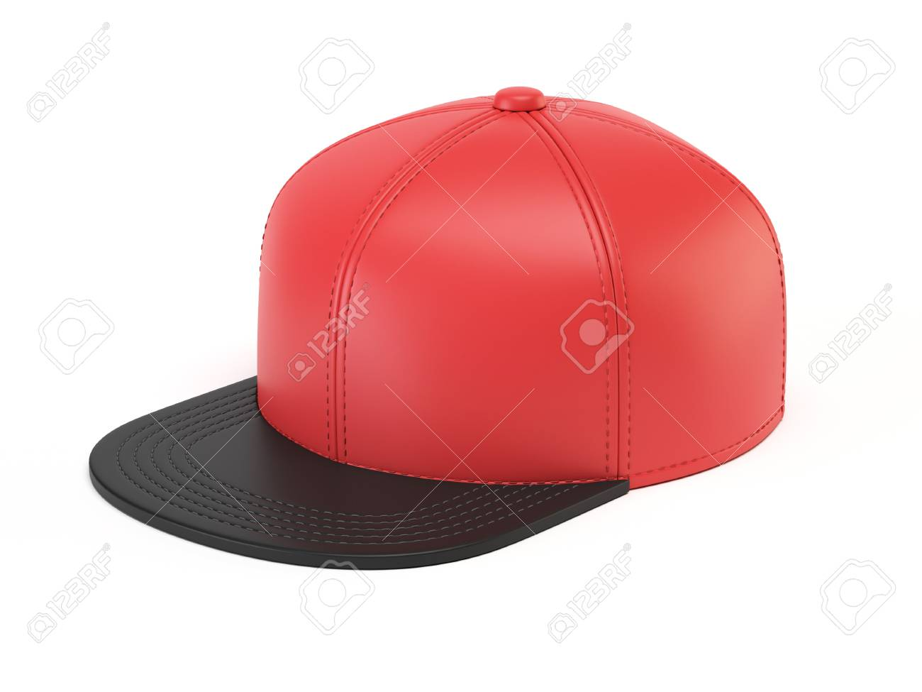 Black And Red Snap Back Mock Up, Blank Hat Template, Isolated ...