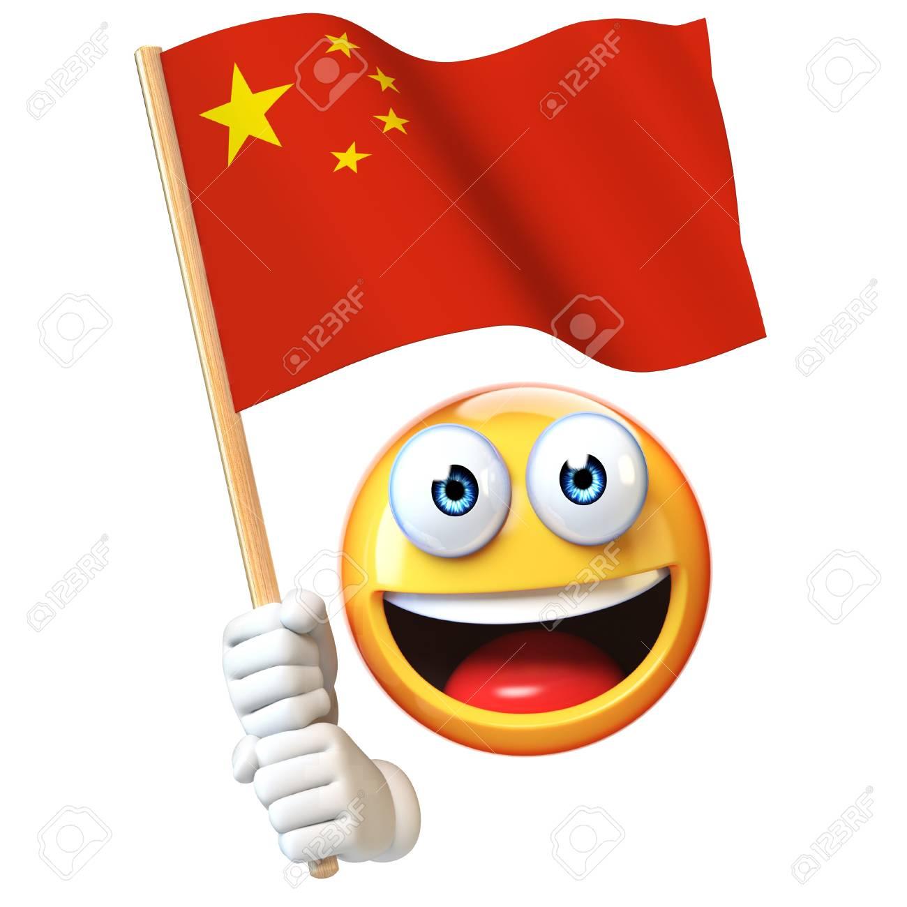 Emoji Tenant Le Drapeau Chinois Emoticone Agitant Le Drapeau National De La Chine Rendu 3d Banque D Images Et Photos Libres De Droits Image 93961806