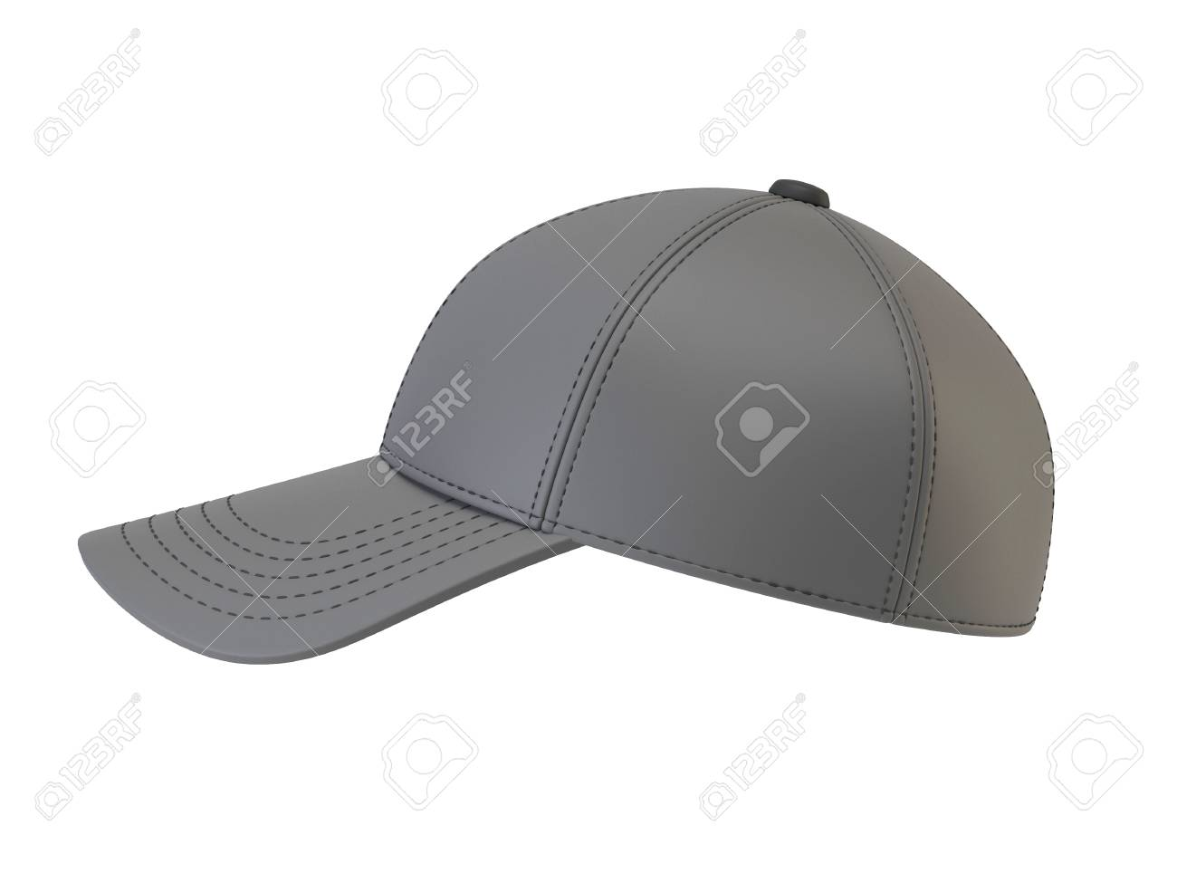 Gray Baseball Cap Mock Up, Blank Hat Template Isolated On White ...