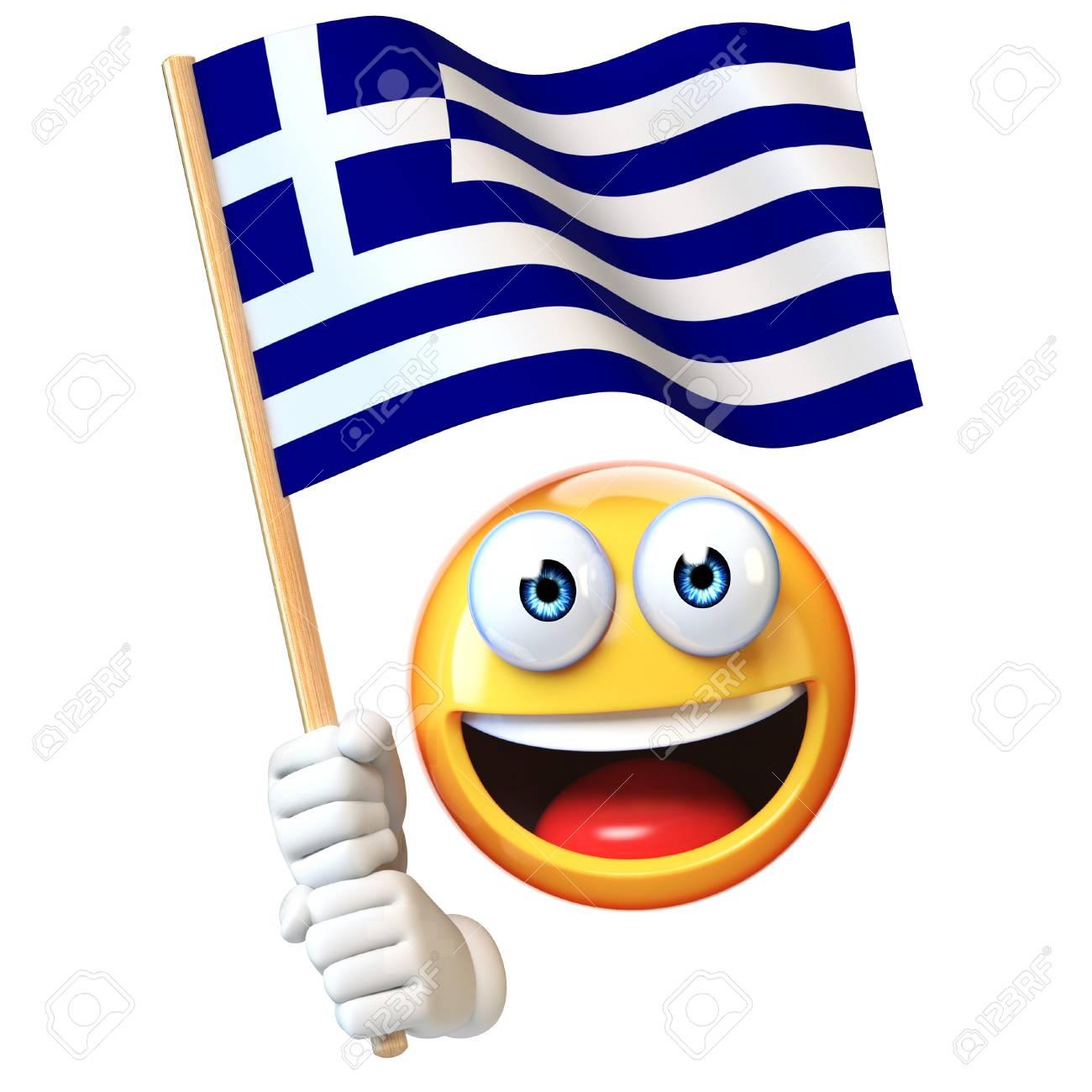 emoji holding greek flag emoticon waving national flag of greece