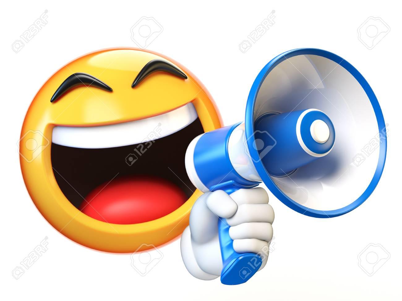 Emoji holding loudspeaker isolated on white background, emoticon holding megaphone 3d rendering - 101617116
