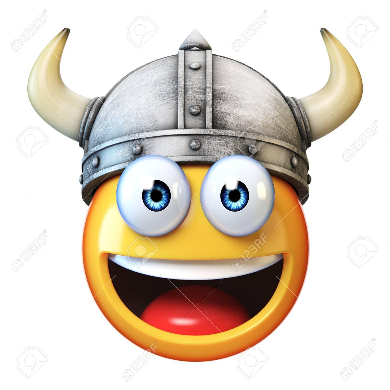 Viking emoji isolated on white background, emoticon wearing Viking