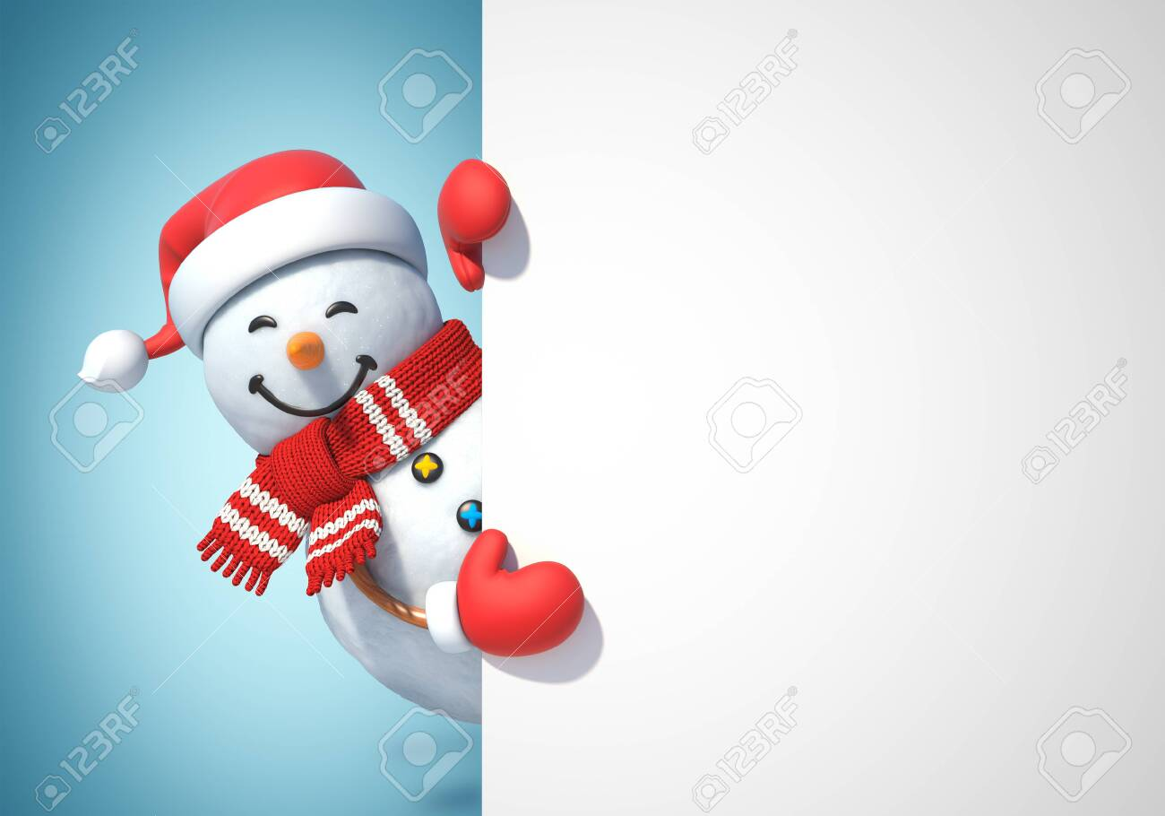 Snowman behind blank white poster, copy space greeting card template, 3d rendering - 132026566