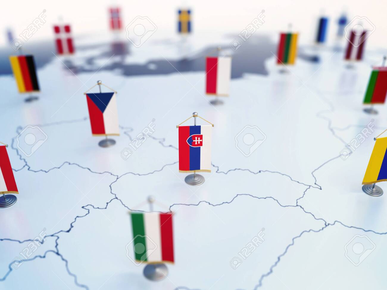 Flag of Slovakia in focus among other European countries flags. Europe marked with table flags 3d rendering - 131680009