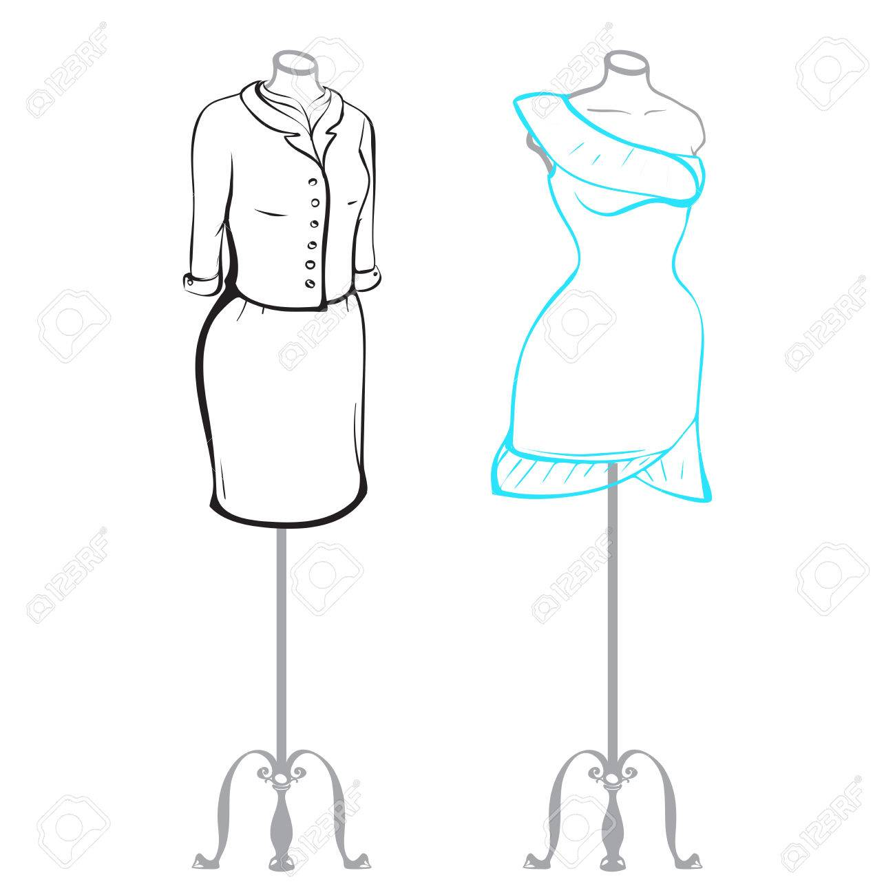 Business Suit And Wearing Women S Clothes On Mannequins Made