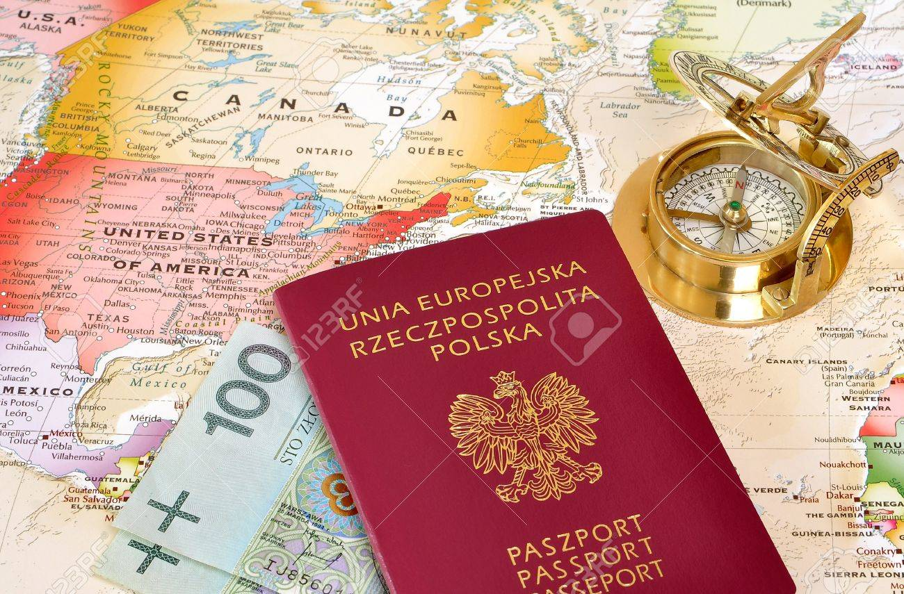 Us Mexico Border Polish Passport And Polish Money On A Map With Old Compass Stock