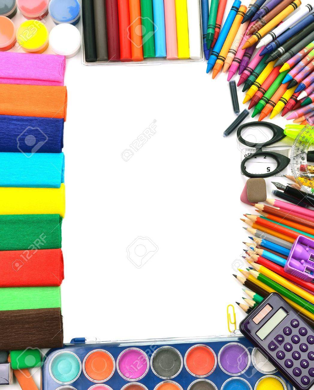School and office supplies frame, on white background, back to school Stock Photo - 15210530