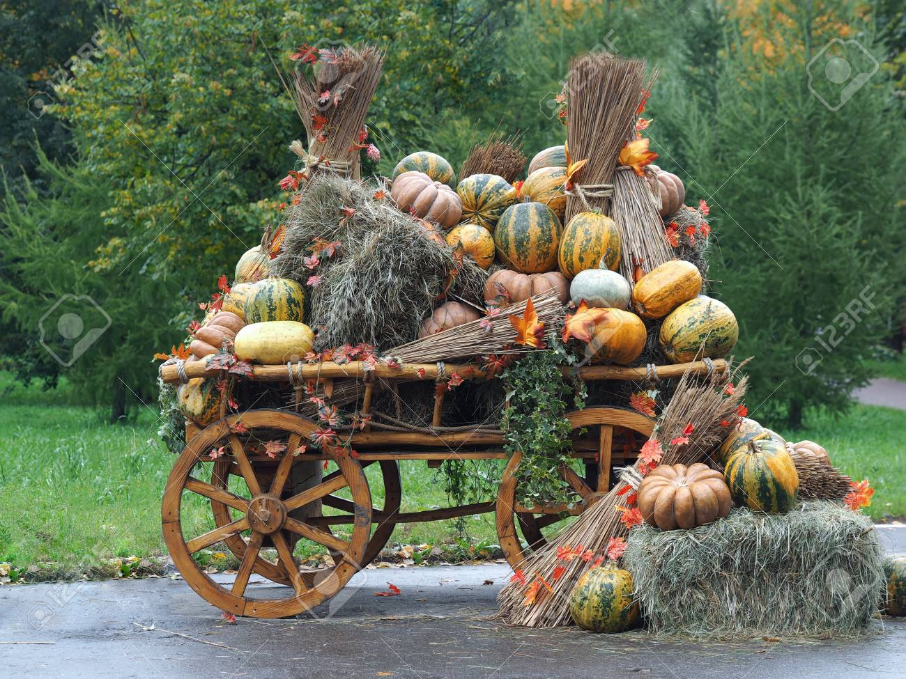 Large Rustic Wagon With Pumpkins And Hay Pumpkin Different Lots Stock Photo Picture And Royalty Free Image Image 63588792