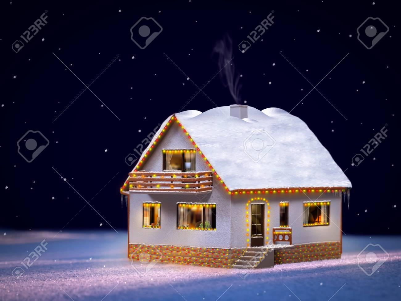 Christmas House.Beautiful Christmas House The House Is Decorated With Garlands