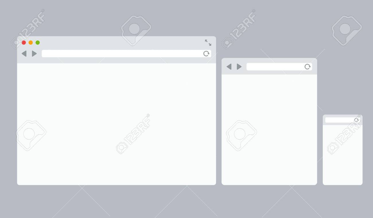 set of desktop tablet and mobile web browser template royalty free