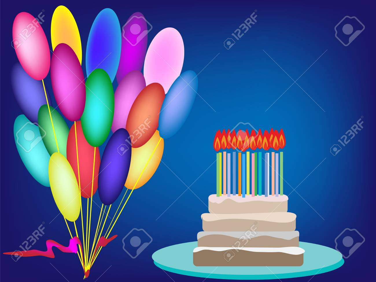 Cake Birthday Candles Cream Vector Background Birthday Balloons