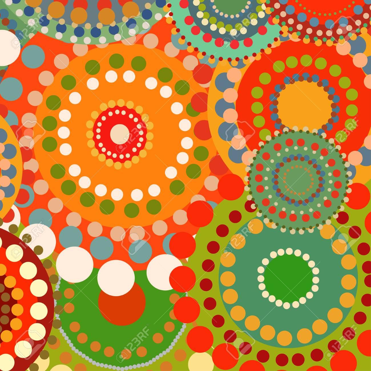Cercles D\'ornement De Fond Rétro Couleur Textile. Contexte De L\'été ...