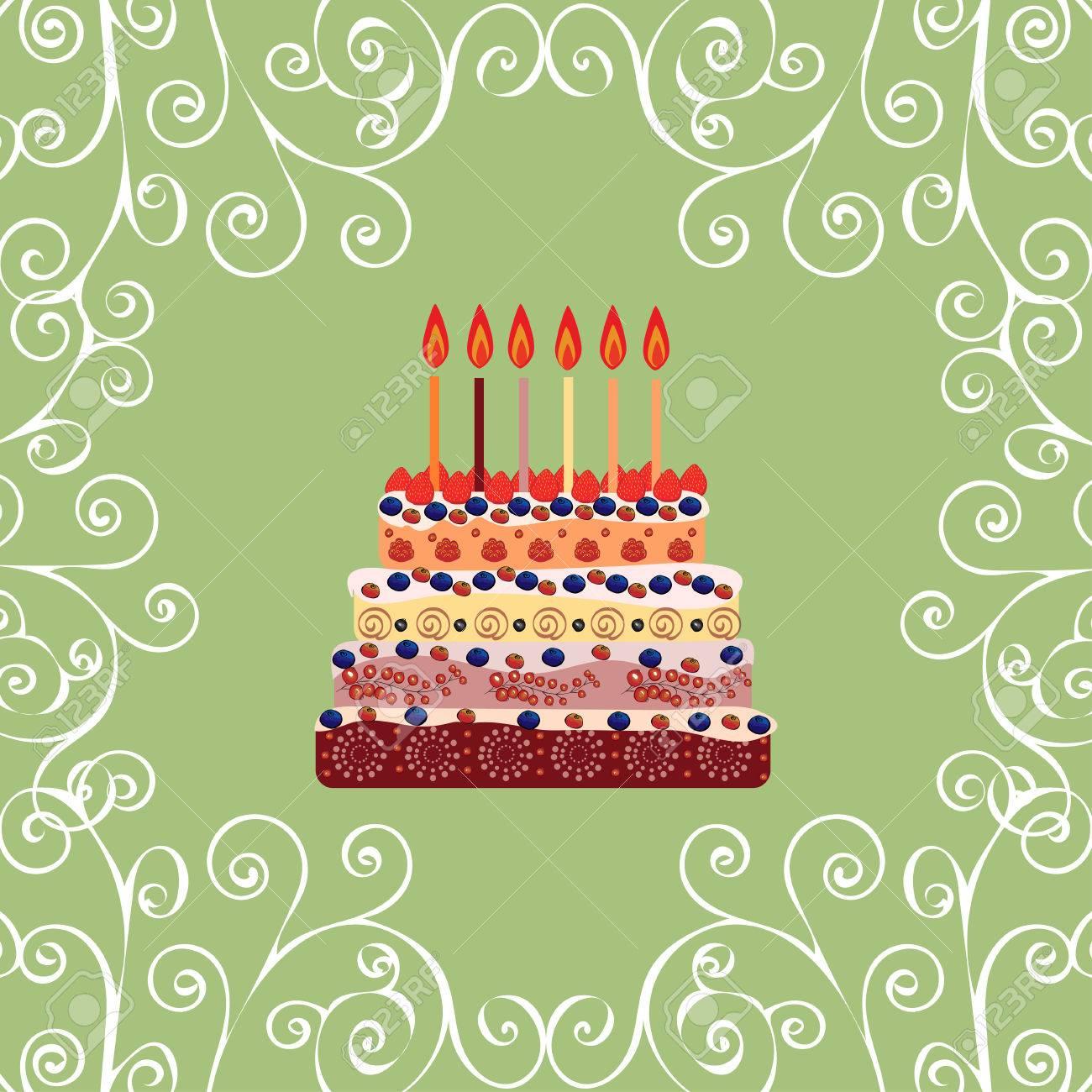 Gâteau Danniversaire Avec Six Bougies Six Ans Un Gâteau Avec Des Bougies Pour Son Anniversaire Fêtes Et Célébrations