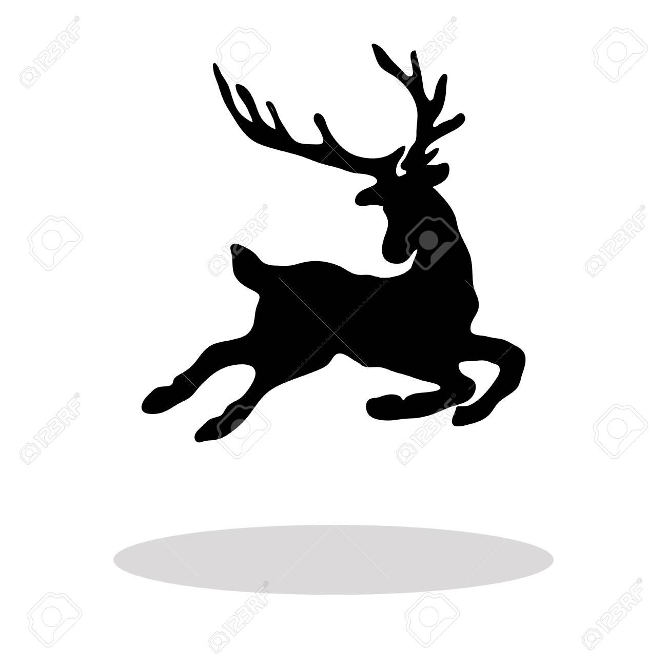 Schwarze Silhouette Weihnachten Rentier Weißen Hintergrund ...