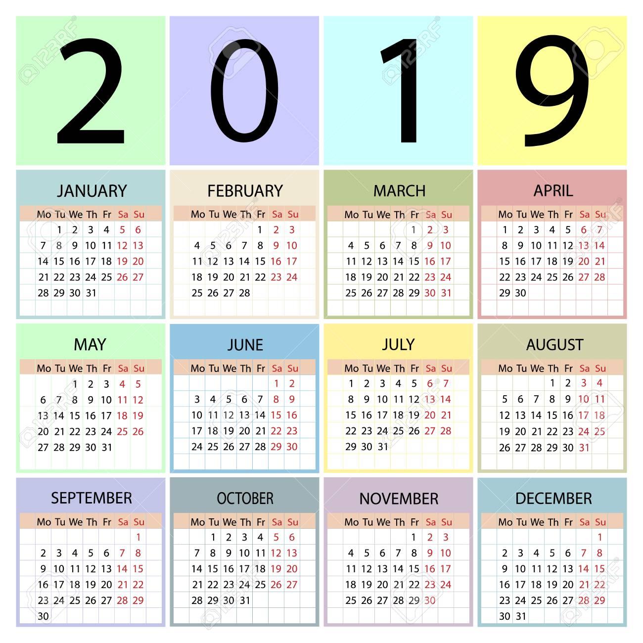 Calendario 2019 Con Numero Week.Calendar 2019 Year Week Starts With Monday