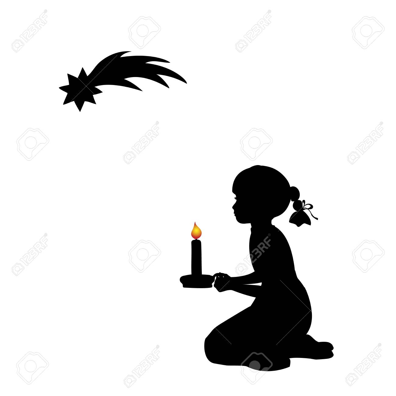 Christmas Star Silhouette.Silhouette Praying Girl With Candle Christmas Star