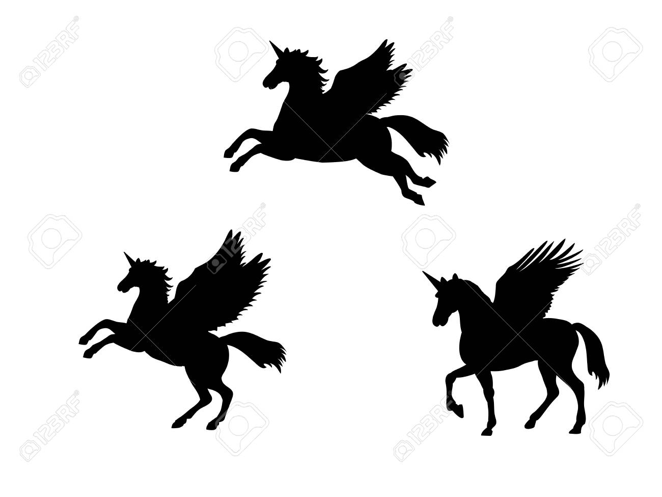 Pegasus Unicorn silhouette mythology symbol fantasy tale