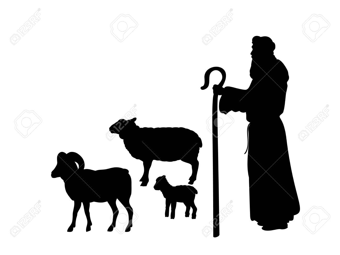 Holiday Silhouettes Christmas Nativity Shepherd Grazes Flock Sheep Royalty Free Cliparts Vectors And Stock Illustration Image 131880048
