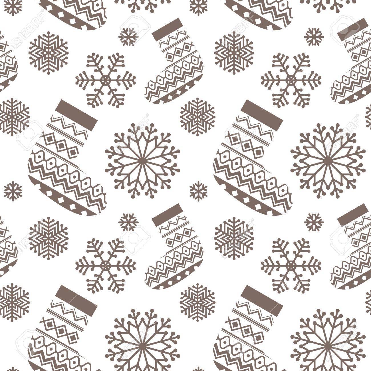 Navidad Sin Patrón. Fondo Con Los Copos De Nieve Y Calcetines ...
