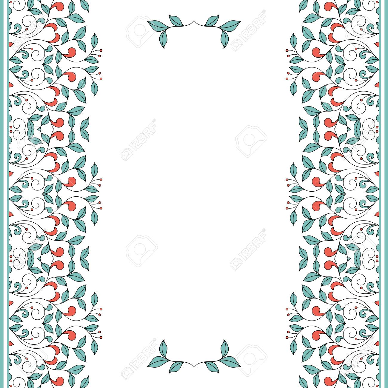 Invitation Card With Floral Ornament Eps File