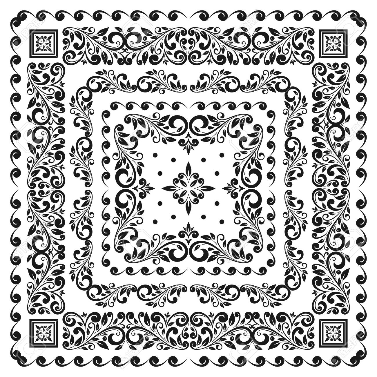 Square frame set template. Bandana with vintage ornament. - 137483726