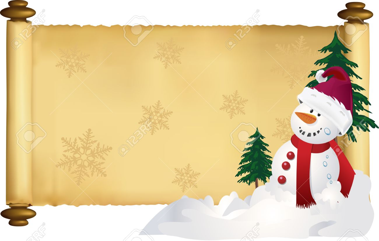 vector holiday scroll banner with fir trees and snowman royalty free rh 123rf com Funny Holiday Banner Winter Holiday Clip Art Banners