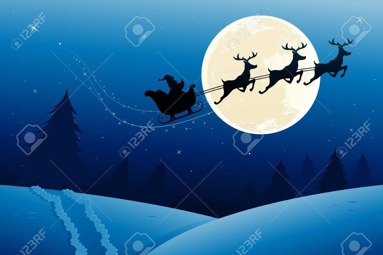 Immagini Slitta Di Babbo Natale.Vettoriale Slitta Di Babbo Natale In Volo A Meta Durante La Notte Image 15378937