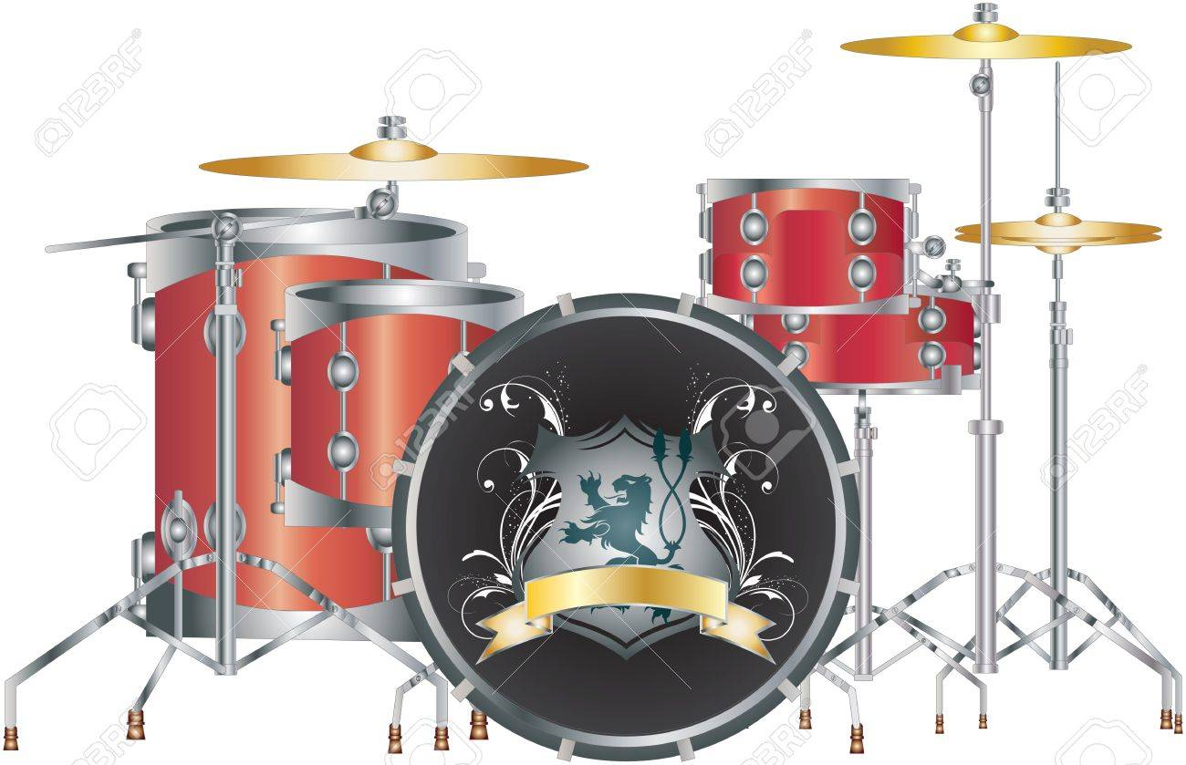 Red Drum Set Clipart Set of a Full Red Drum Set on