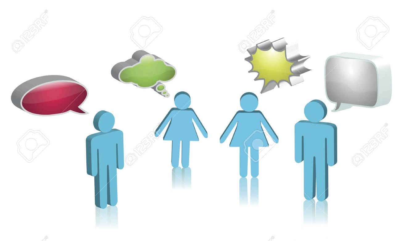 Digital illustration of boys and girls with speech bubbles Stock Vector - 15378836
