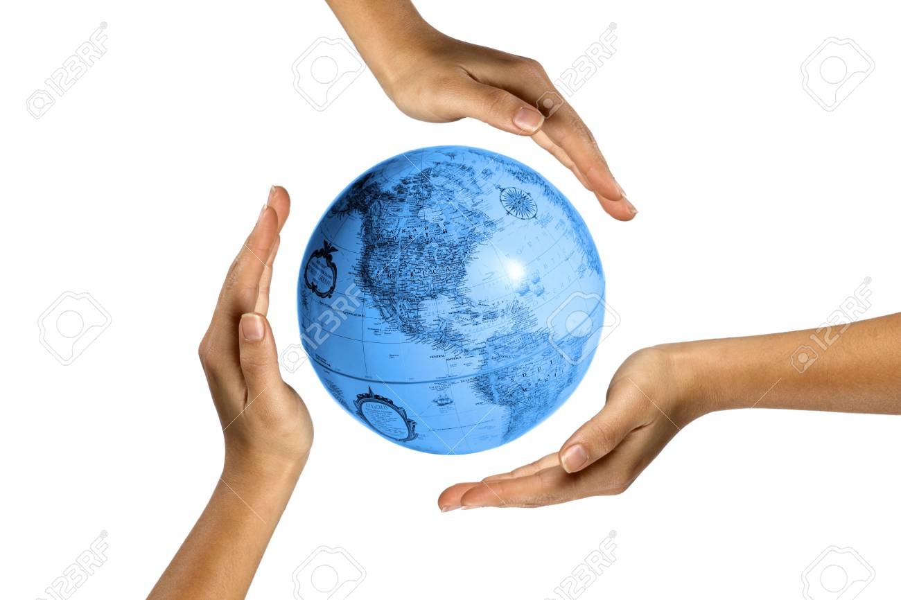 Digital image of human hands covering earth. Stock Photo - 15541367