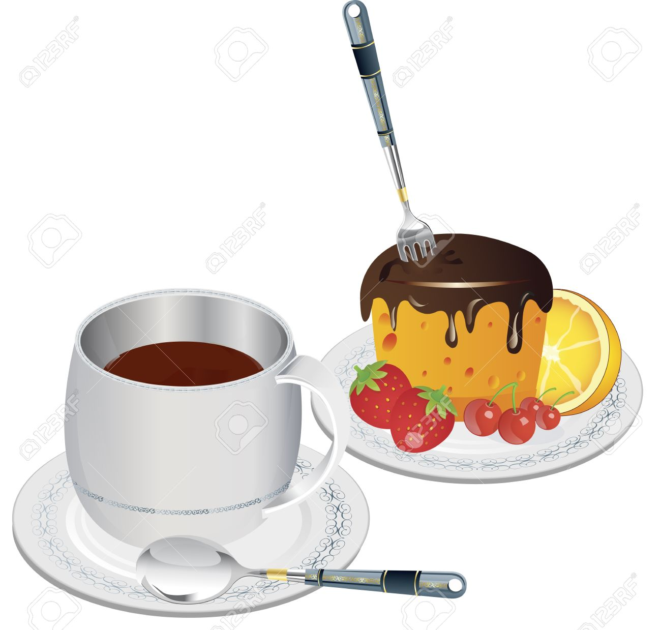Clip art image of a cup of coffee and slice of fruit cake Stock Photo - 15616860