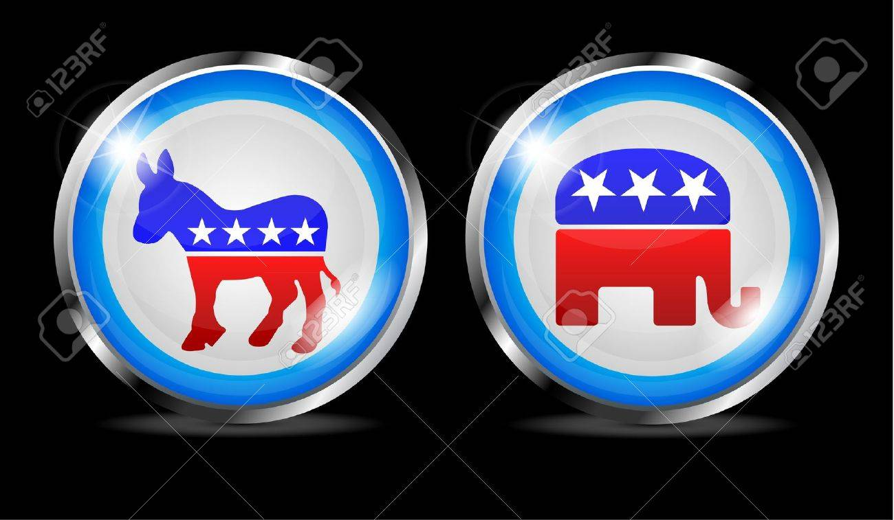Republican And Democratic Symbols Combined