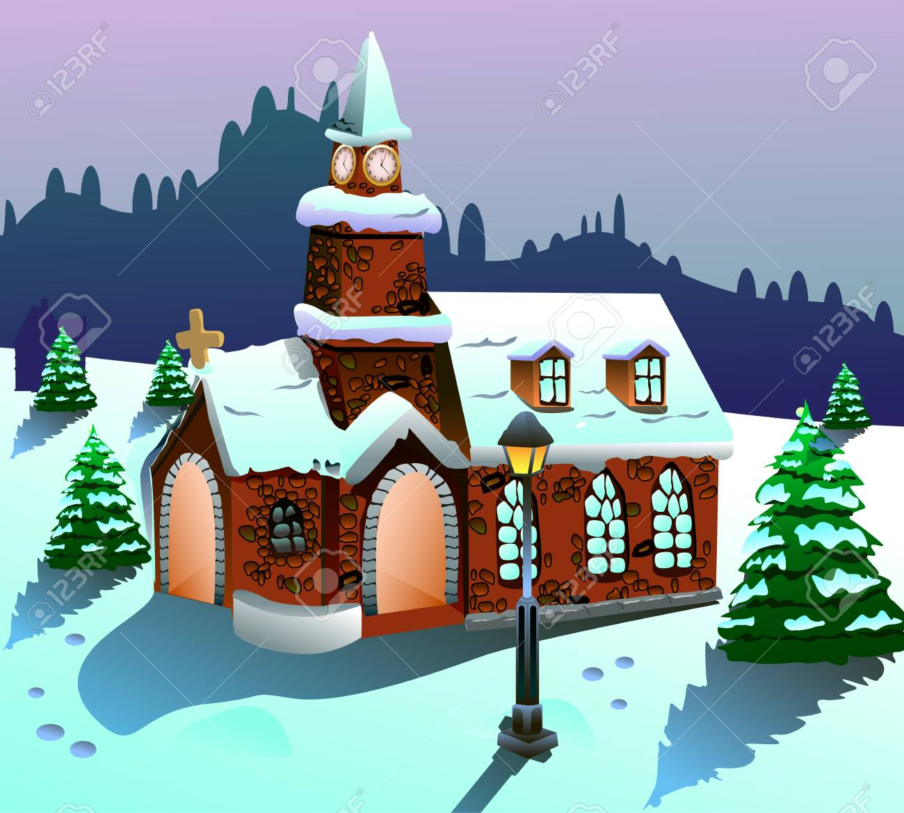 Christmas house with snow art - Vector Illustration Of A House On Snow Stock Illustration 15616952