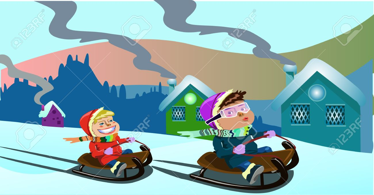 Christmas Clip-art With Two Kids Playing On A Sledge Stock Photo ...