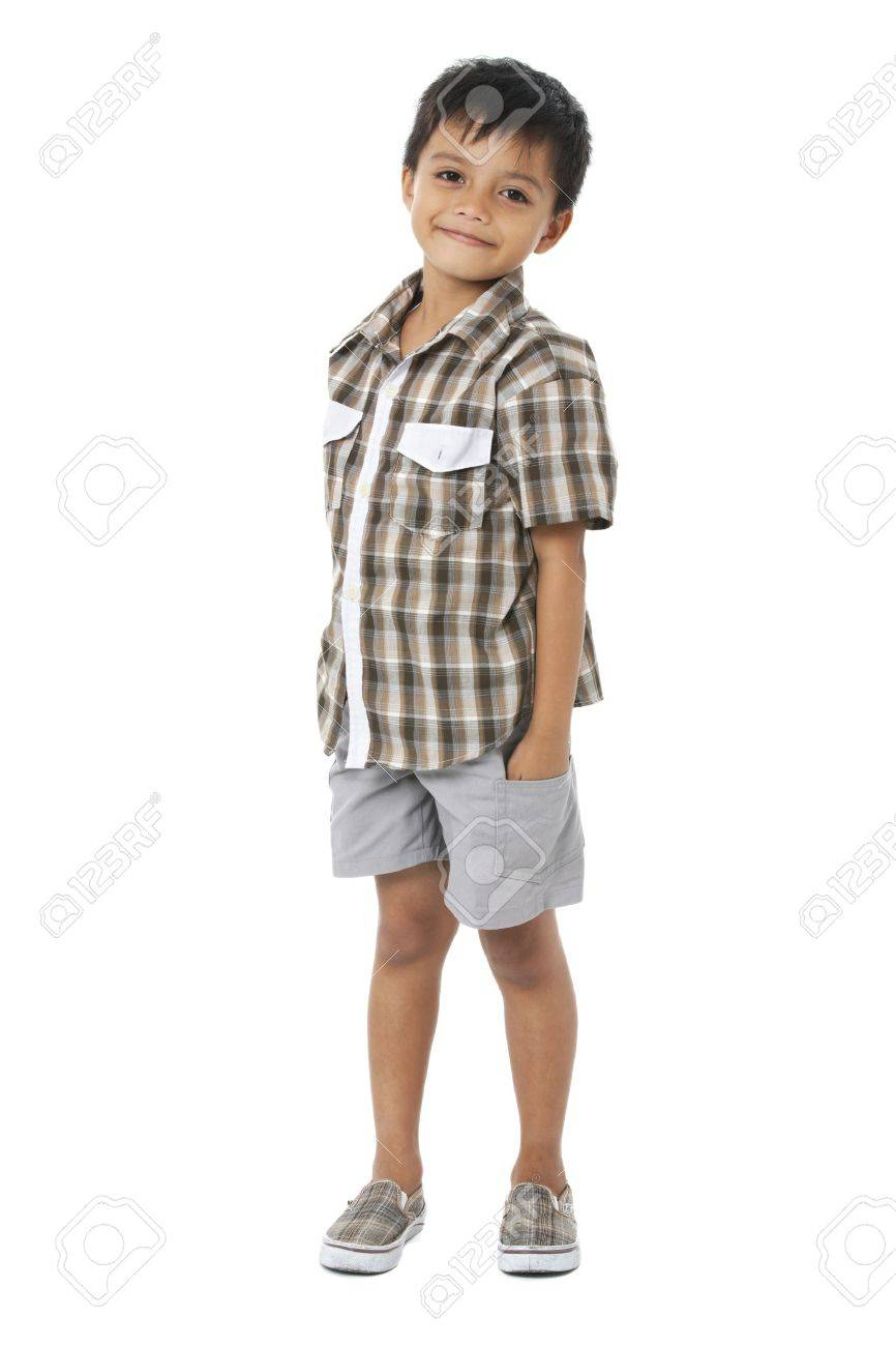 Happy little boy with hands in pockets on white background Stock Photo - 16193909