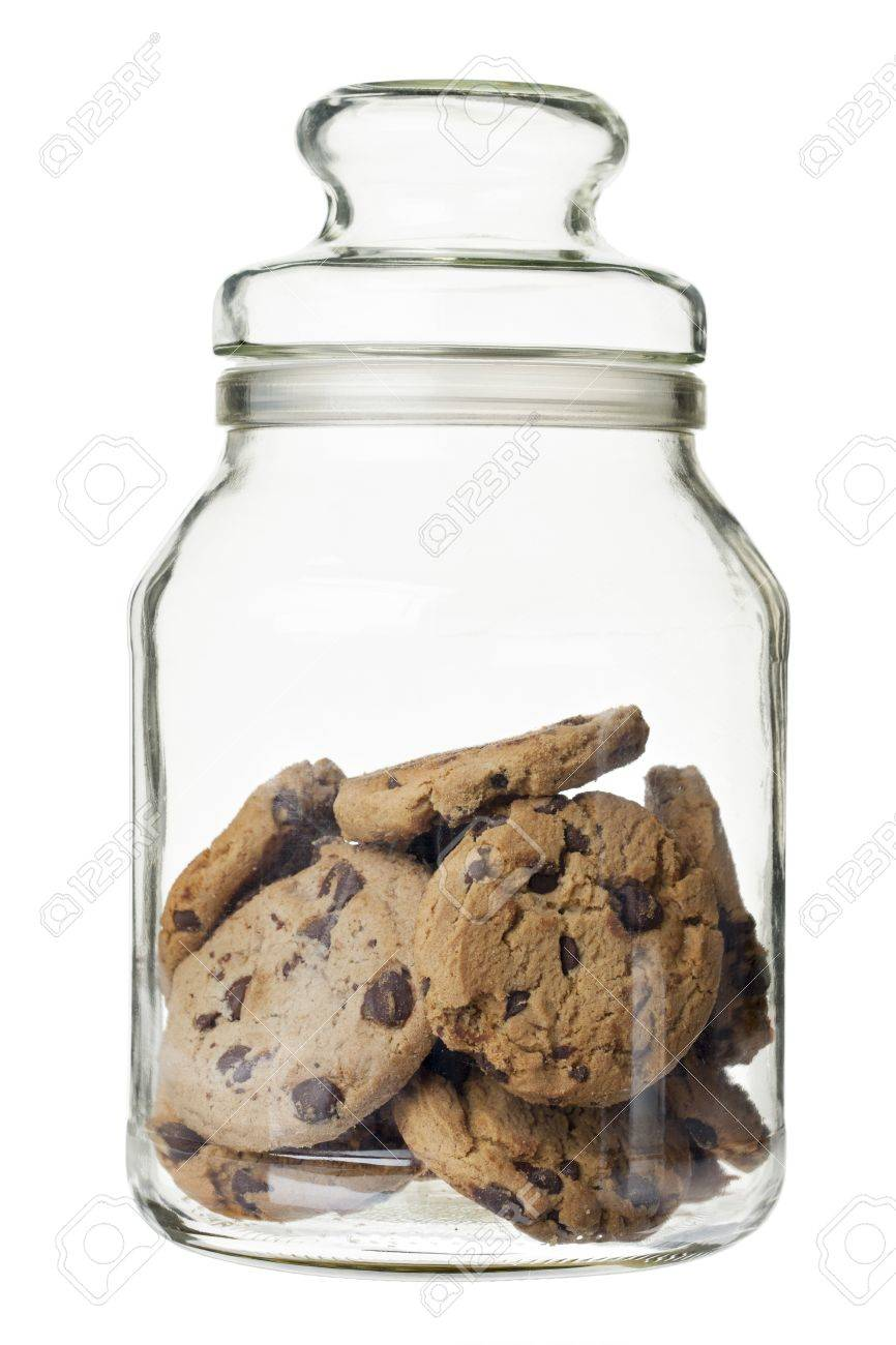 Chocolate chip cookies on a glass jar Stock Photo - 16211103