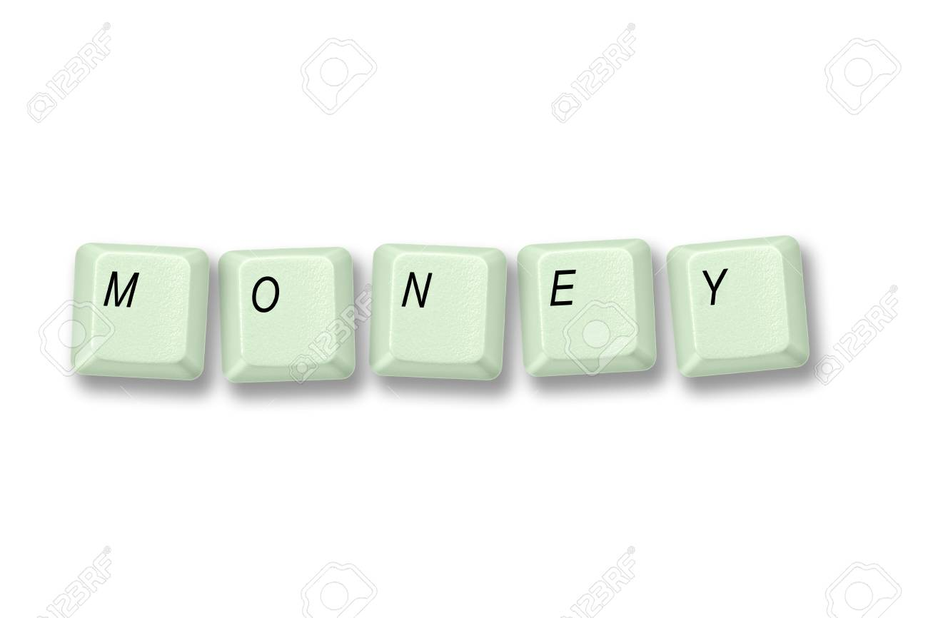Multiple keyboard keys isolated and arranged to spell the word MONEY on a white background Stock Photo - 16225702