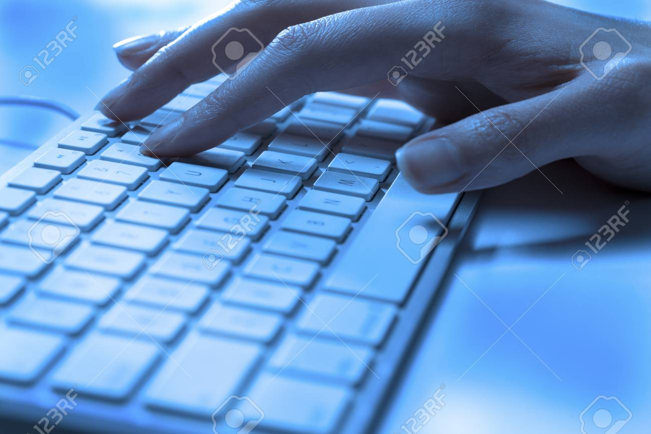 Close-up shot of hands typing on laptop computer keyboard Stock Photo - 16226209